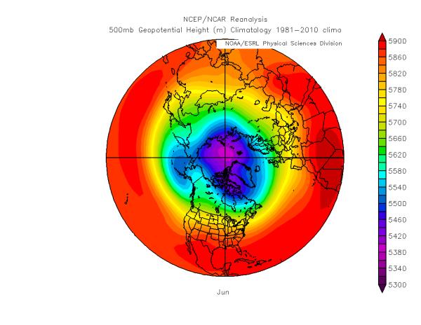 Normale de la hauteur du Z500, Juin