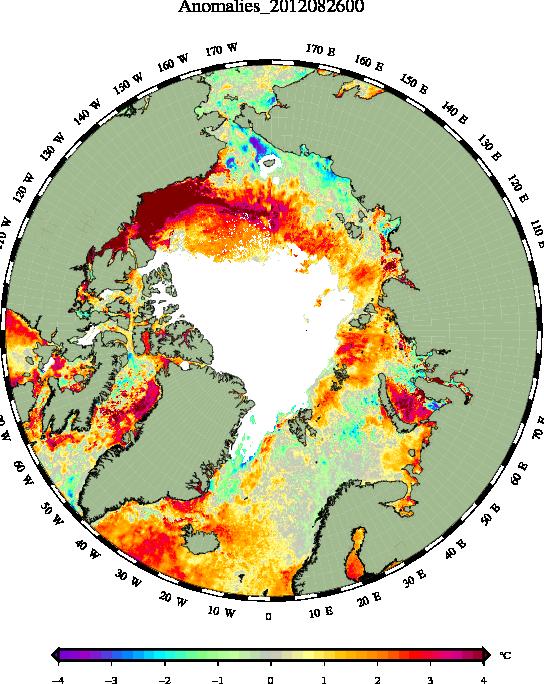 Anomalies des SSTs arctique