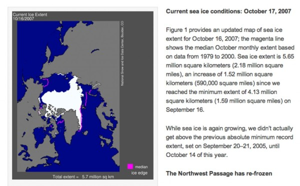 Arctic Sea Ice Report, Octobre 2007
